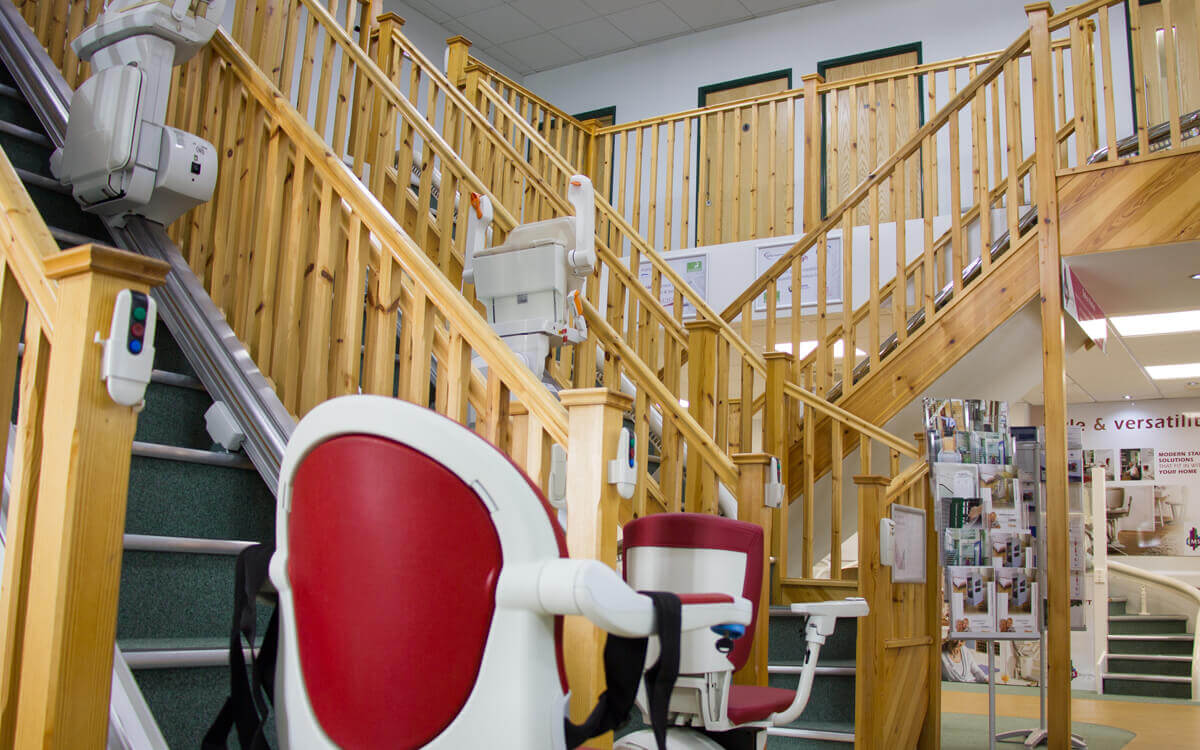 Stairlift ready to go up some stairs in the largest stairlift showroom