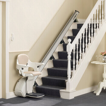 Straight Stairlift at the bottom of a staircase